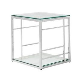 image-Nowak Glass Lamp Table Square In Clear With Silver Frame