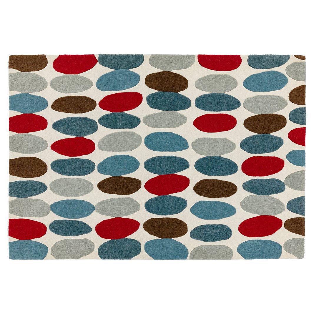 image-Pebbles Wool Rug 120x170cm , Teal Red