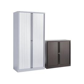 image-Economy Tambour Cupboard, 100wx47dx159h (cm), Grey