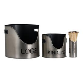 image-Hill Log's Kindling Buckets + Matchstick Holder In Aged Pewter