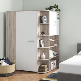 image-Petrin 1 Door Sliding Corner Wardrobe Brayden Studio Colour: Grey/White