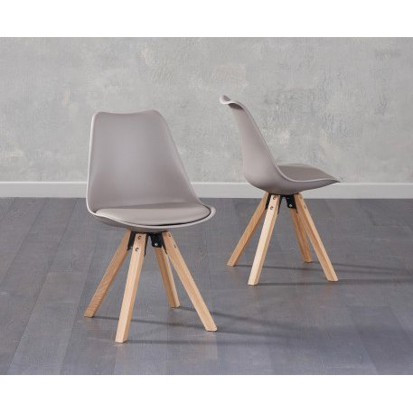 image-Oscar Mink Faux Leather Square Leg Dining Chairs