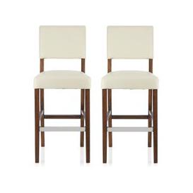 image-Vibio Bar Stools In Cream PU With Walnut Legs In A Pair