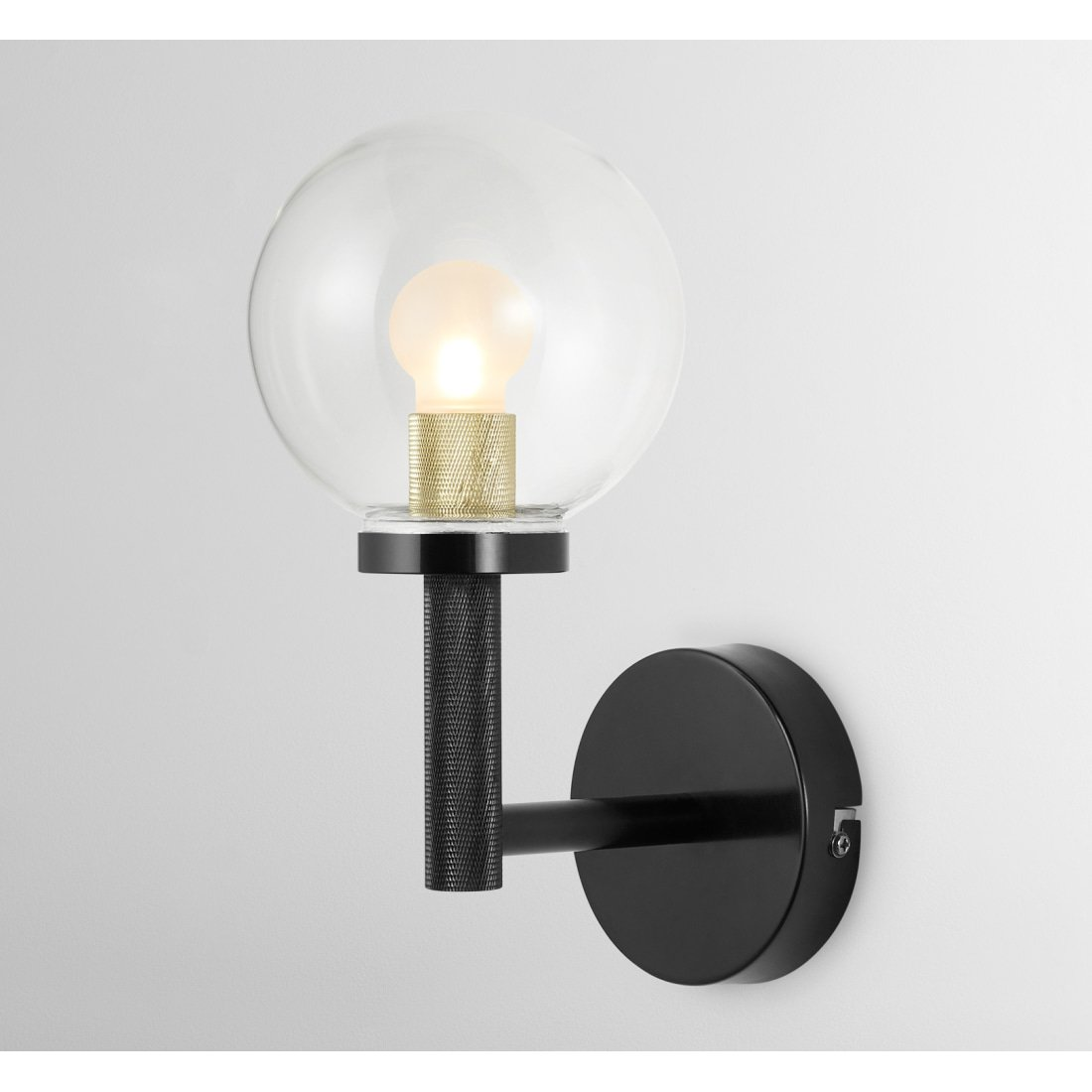 image-Vaughn Bathroom Wall Lamp, Black and Brushed Brass