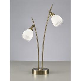 image-T984 2 Light Table Lamp In Bronze With Clear Edged White Glass Shades
