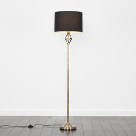 image-Axelrod 149cm Traditional Floor Lamp Three Posts Shade Colour: Black, Base Finish: Brass, Bulb: Included