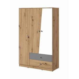 image-Nero NE-03 Wardrobe 120cm - 120cm Grey Matt & Oak Artisan Oak Artisan