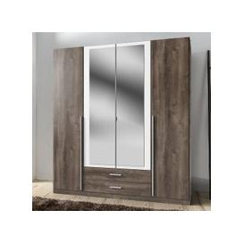 image-Norell Mirrored Wardrobe Large In Muddy Oak Effect And White