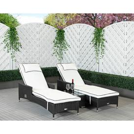 image-Cambridge Reclining Sun Lounger with Cushions Rattan Direct