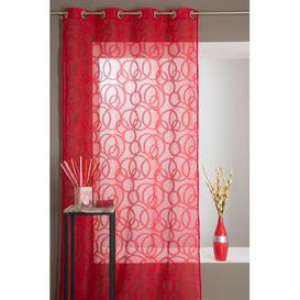 image-Eyelet Sheer Single Curtain Mercury Row Colour: Red