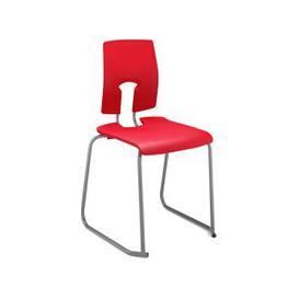 image-SE Ergonomic Skid Base Classroom Chair, 14+ Years - 41wx44dx46h (cm), Light Grey/Leaf Green