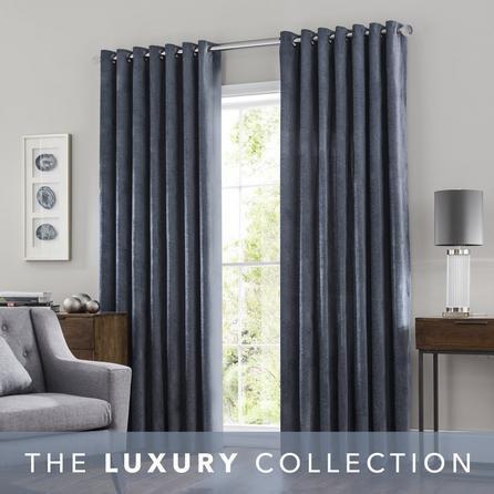 image-Chenille Slate Eyelet Curtains Slate