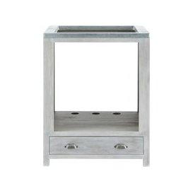 image-Grey Acacia Wood Kitchen Base Cabinet for Oven W70 Zinc