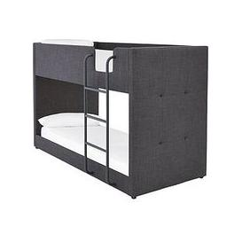 image-Lubana Fabric Bunk Bed Frame With Mattress Options (Buy And Save!) - Grey - Bunk Bed Frame With 2 Standard Mattresses