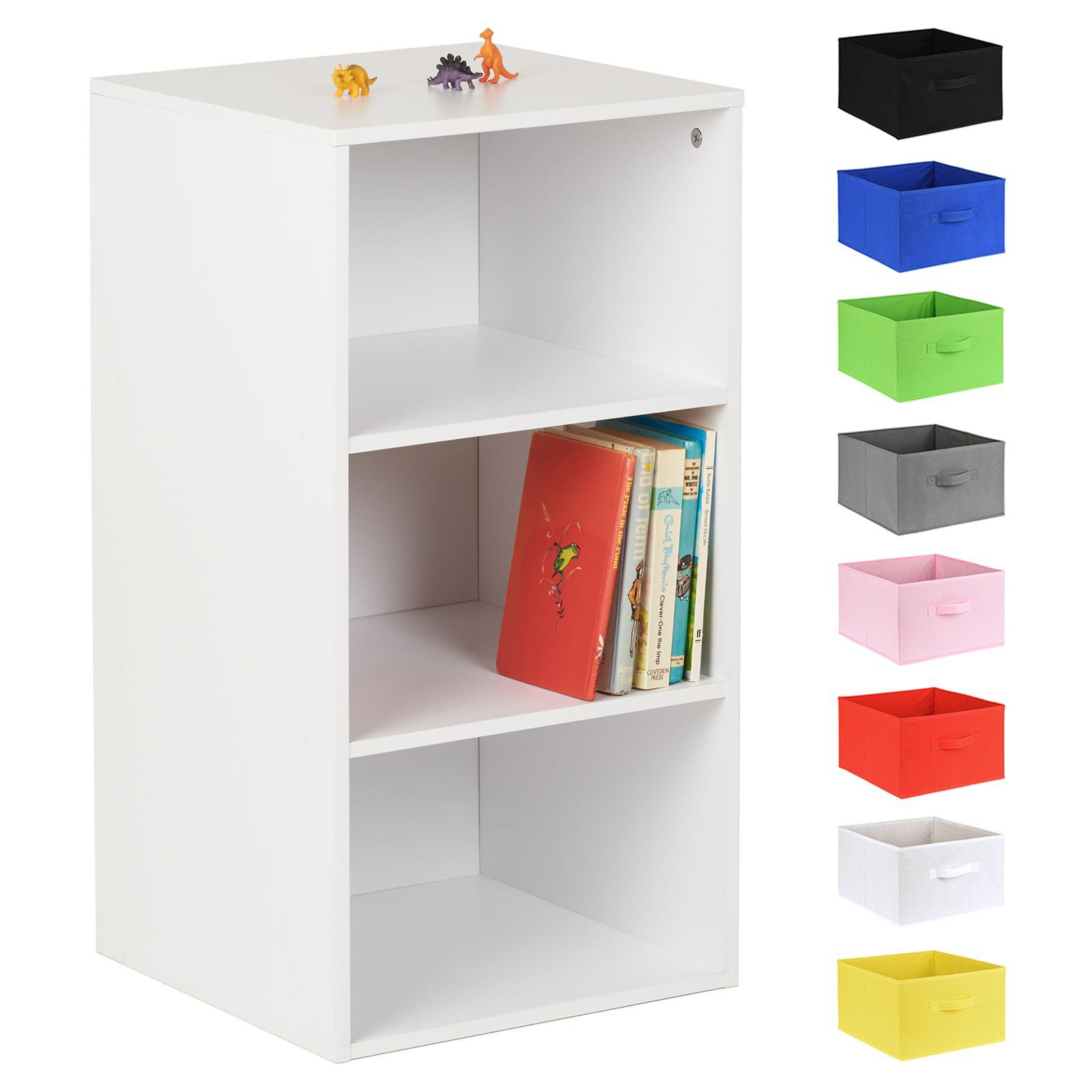 image-Hartleys White 3 Cube Kids Storage Unit