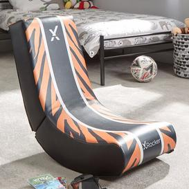 image-Foldable Gaming Chair X Rocker Upholstery Colour: Orange/Black