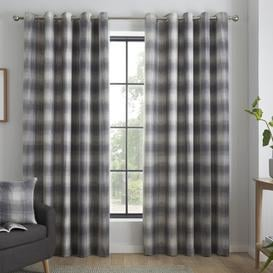 image-Ardelia Eyelet Curtains Brambly Cottage Colour: Grey, Panel Size: 168 W x 137 D cm