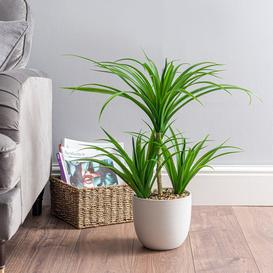 image-Artificial Yucca Plant in Ceramic Pot Green