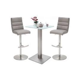 image-Soho White Glass Bar Table With 2 Hiulia Ice Grey Stools