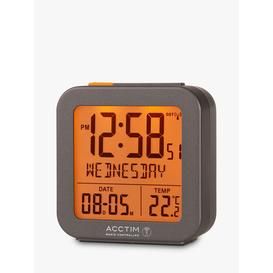 image-Acctim Invicta Radio Controlled Square Digital Alarm Clock, Dark Grey