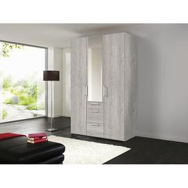 image-Ammiras 3 Door Sliding Wardrobe Ebern Designs Size: 236cm H x 150cm W x 58cm D, Finish: Polar White/Graphite