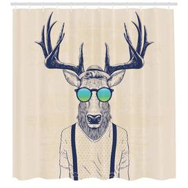 image-Hipster with Sunglasses Shower Curtain East Urban Home Size: 220cm H x 175cm W
