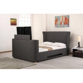 image-Upholstered TV Bed Ophelia & Co. Colour: Grey, Size: Kingsize (5')