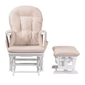image-Kub Haywood Reclining Glider Nursing Chair and Footstool, White