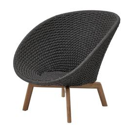 image-Cane-line Peacock With Teak Legs Dark Grey Lounge Outdoor Chair