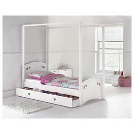 image-Argos Home Mia Single 4 Poster Bed and Kids Mattress - White