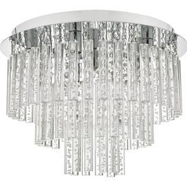 image-Dar PAU5450 Paulita 5 Light Semi Flush Bathroom Ceiling Light In Polished Chrome And Clear Glass