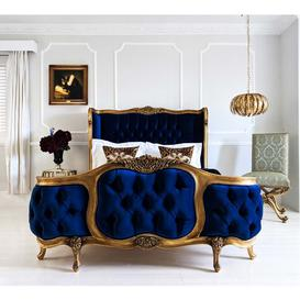 image-The Palais de Versailles Sacré Bleu Velvet Bed (Superking)