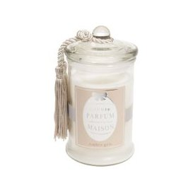 image-CLASSIQUE white amber scented glass candle H 15cm