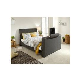 image-Vizzini Pneumatic Fabric Double TV Bed In Dark Grey