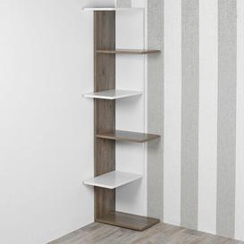 image-Tarvin Corner Bookcase Ebern Designs Colour: White/Oak