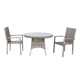 image-Small Round Rattan Garden Dining Table &amp 2 Stackable Chairs in Grey - Rio