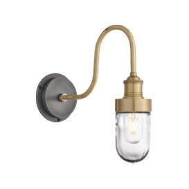 image-Industville Swan Neck Outdoor & Bathroom Wall Light - Brass