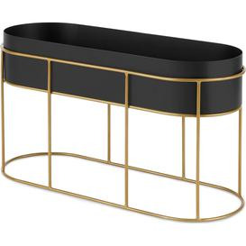 image-Echo Free Standing Oval High Zinc Powercoated Plant Stand, Black & Metallic Gold
