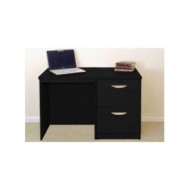 image-Small Office Desk Set With 2 Drawer Filing Cabinet (Black Havana)