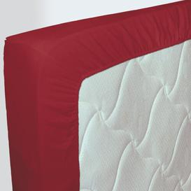image-Kewaunee 57 Thread Count 100% Cotton Fitted Sheet Symple Stuff Size: European Kingsize (160 x 200 cm), Colour: Dark Red