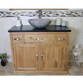 image-Walter Solid Oak 1000mm Free-Standing Vanity Unit Belfry Bathroom