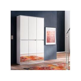 image-Cubix Mirrored Hallway Wardrobe In White With 6 Doors