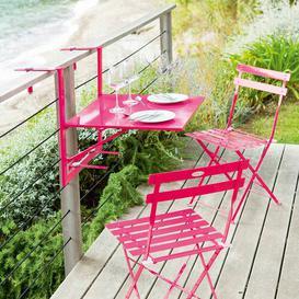 image-Atla Folding Steel Balcony Table Sol 72 Outdoor Colour: Raspberry, Size: 83cm H x 60cm W x 72cm L