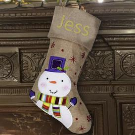 image-Snowman Personalised Christmas Stocking East Urban Home Colour: Gold