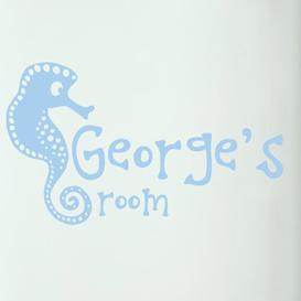 image-Personalised Seahorse Kids Door Room Wall Sticker Happy Larry Colour: Light Blue