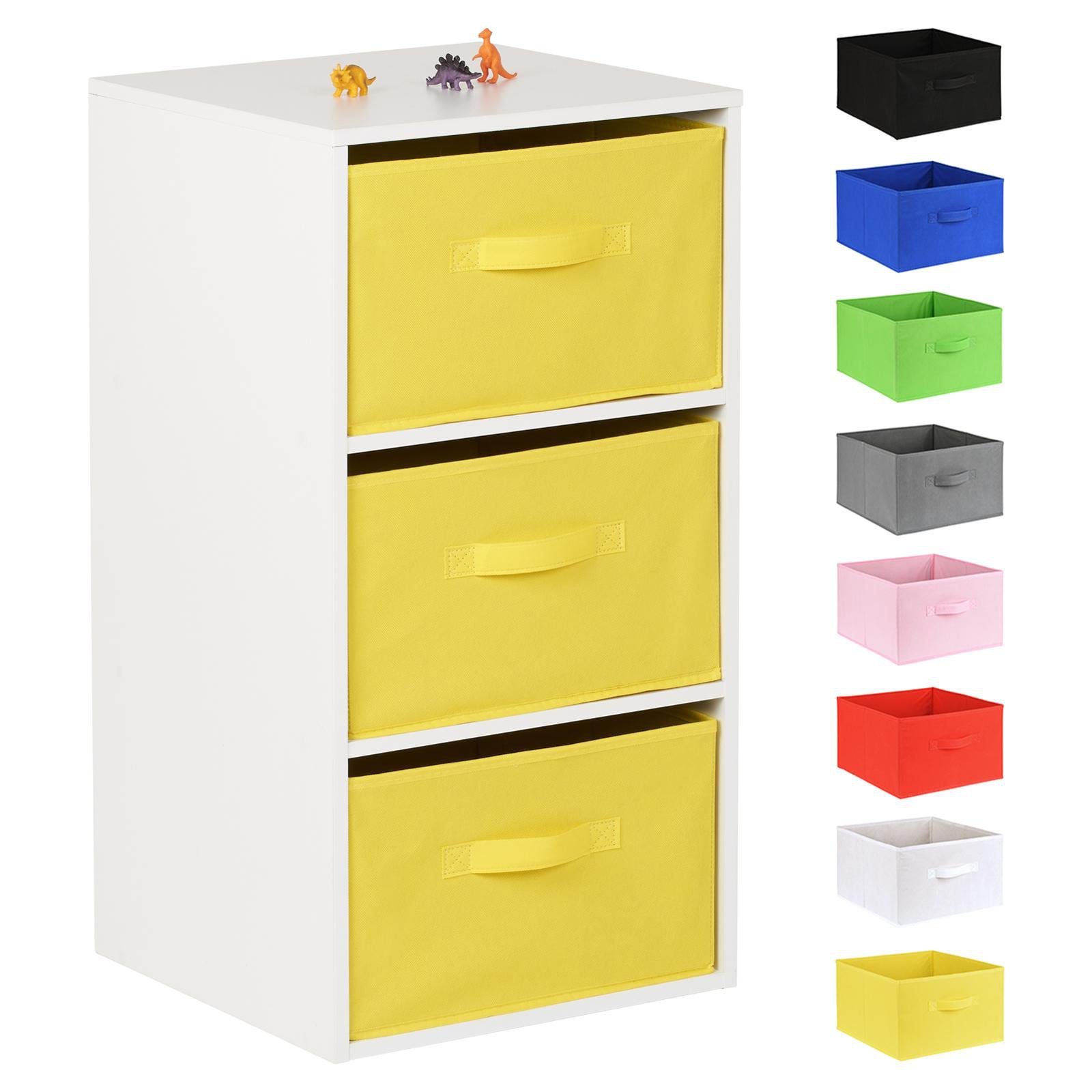 image-Hartleys White 3 Cube Kids Storage Unit & 3 Handled Box Drawers - Yellow