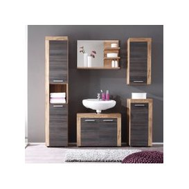 image-Wildon Wooden Bathroom Furniture Set In Walnut And Dark Brown