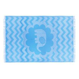 image-Parish Kids Elephant 100% Cotton Beach Towel Isabelle & Max Colour: Blue