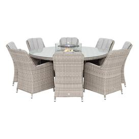 image-Hathaway 8 Seat Round Garden Dining Set in Light Grey Weave and Grey Fabric