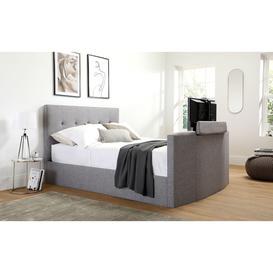 image-Langham Grey Fabric Ottoman Double TV Bed